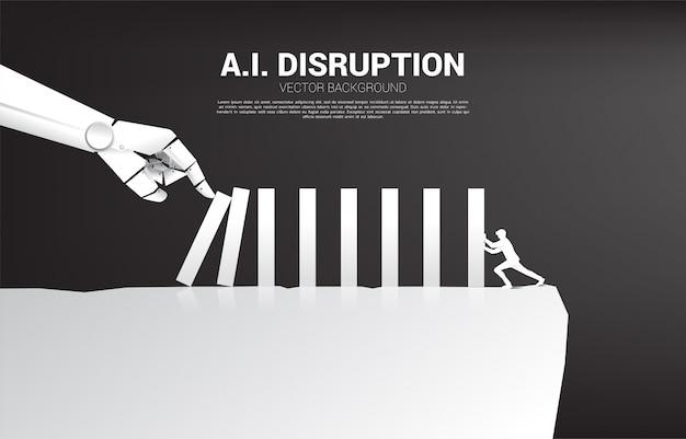 De zakenman duwt de domino om met robothand te vechten. bedrijfsconcept van verstoring van ai om het domino-effect te bereiken. Premium Vector