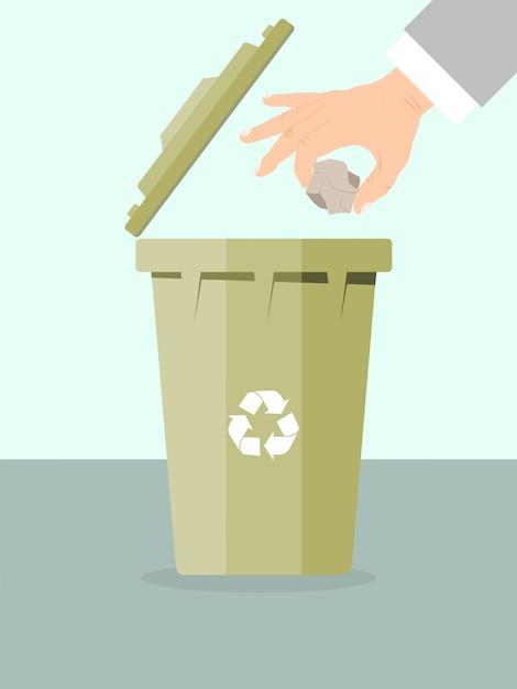 De zakenman gooit vuilnis voor recyclingsillustratie weg. Premium Vector