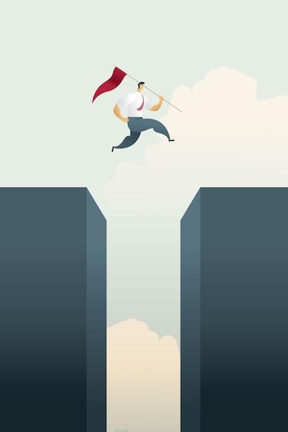 De zakenman met vlag springt over bovenkant van de hiaatgrafiek over doelstellingen en uitdagingskans. Premium Vector
