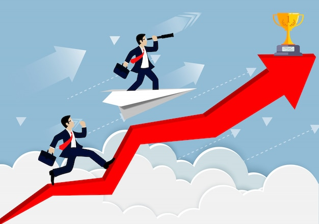De zakenmanconcurrentie op een pijlrood tot de hemel gaat naar doel Premium Vector