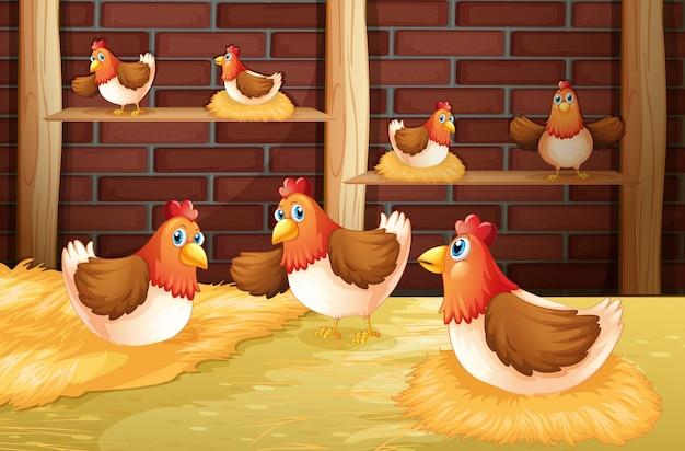 De zeven kippen Premium Vector