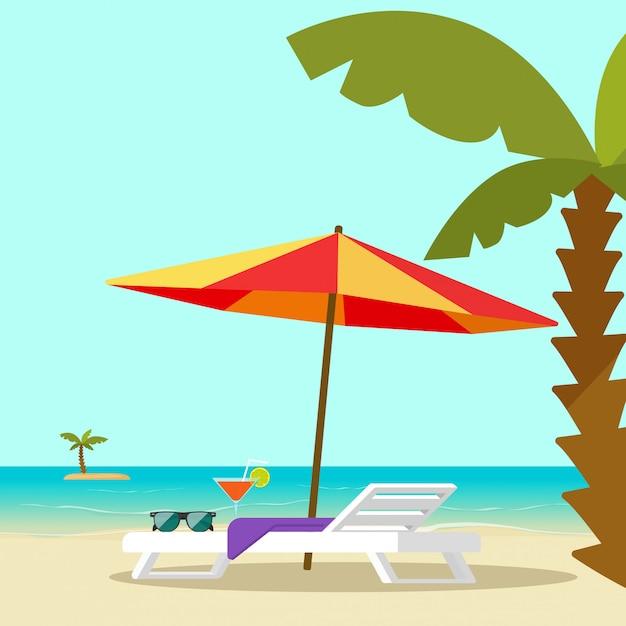 De zitkamerstoel van het strand dichtbij overzeese kust en stijl van het de illustratie vlakke beeldverhaal van de zonparaplu de vectorillustratie Premium Vector