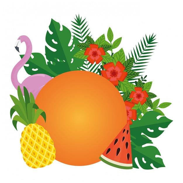 De zomer doorbladert installaties met fruit en vlaamse vogel Premium Vector