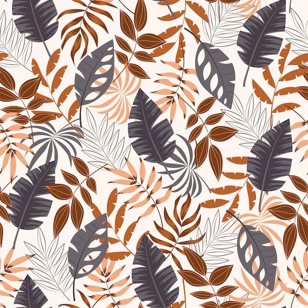 De zomer naadloos tropisch patroon met bladeren en planten op witte achtergrond Premium Vector