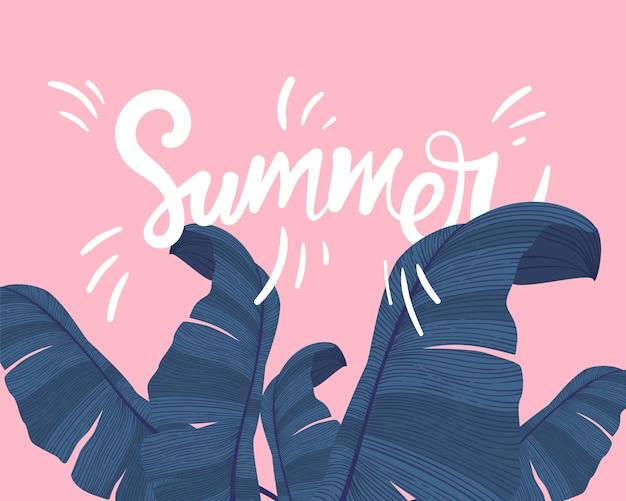 De zomer tropische banner met exotische palmbladen op roze. Premium Vector