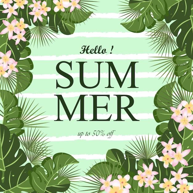 De zomerachtergrond met tropisch gebladertekader en abstracte lijn Premium Vector