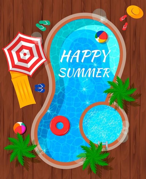 De zomerpool met strandtoebehoren en vlakke samenstelling van de palmen de hoogste mening op houten Gratis Vector