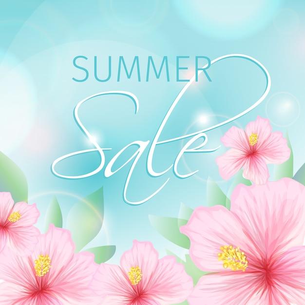 De zomerverkoop met roze hibiscusillustratie Gratis Vector
