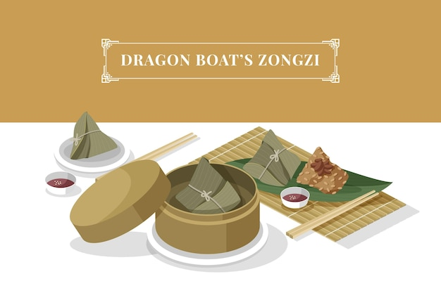De zongzi-set van de drakenboot Gratis Vector
