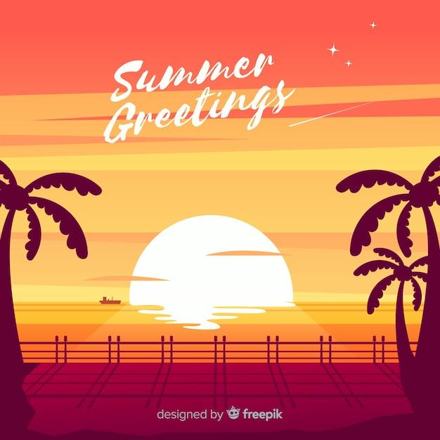 De zonsondergangzonsopgang van het strand met palmsilhouet Gratis Vector