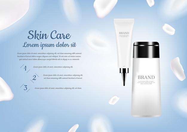 De zorg van de huid die met witte bloemblaadjes op lichtblauwe achtergrond wordt geplaatst Premium Vector