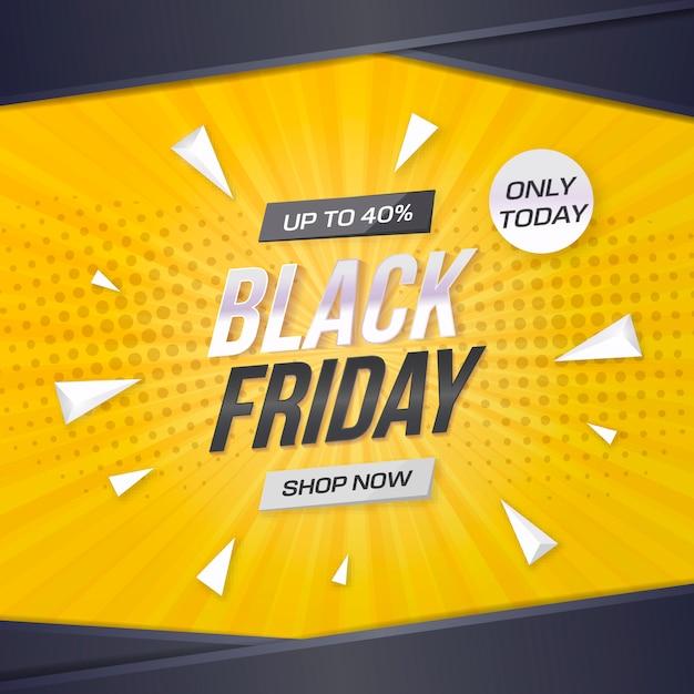 De zwarte banner van de vrijdagverkoop met gele achtergrond Gratis Vector