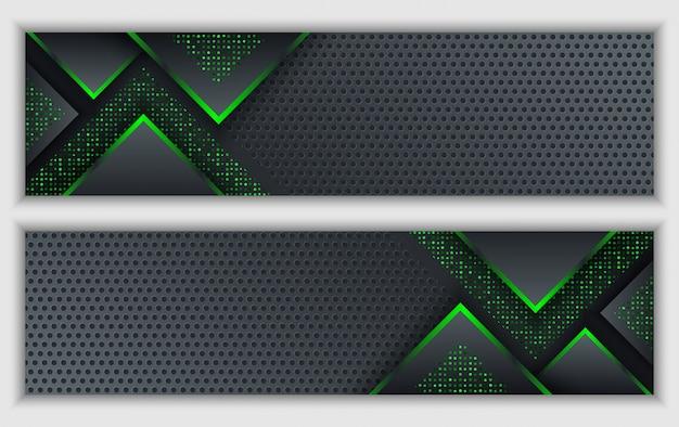 De zwarte groene abstracte collectieve banner met gloeiend neon schittert technologieachtergrond Premium Vector