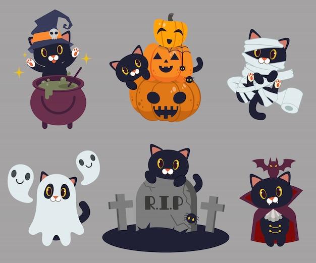 De zwarte kat gooide magie met de wicth-pot. halloween. Premium Vector