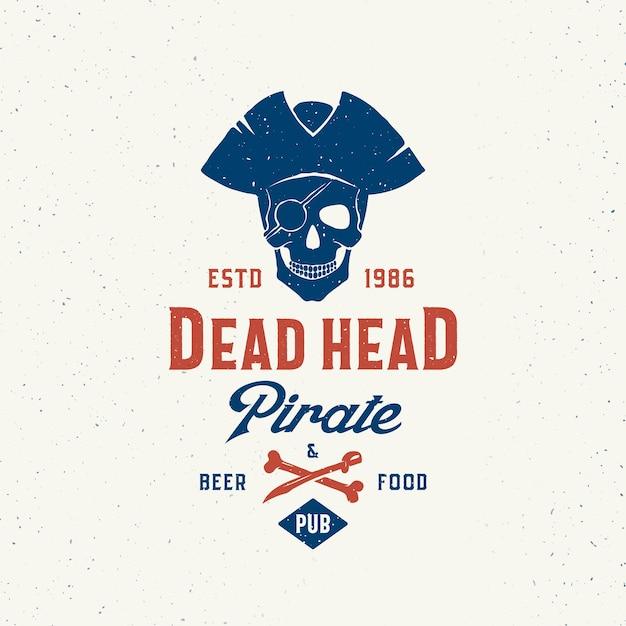 Dead head pirate beer and food pub. Gratis Vector