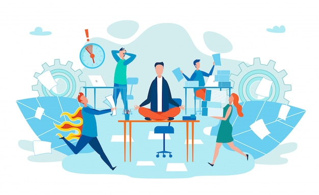 Deadline in work stress voor body cartoon flat. Premium Vector