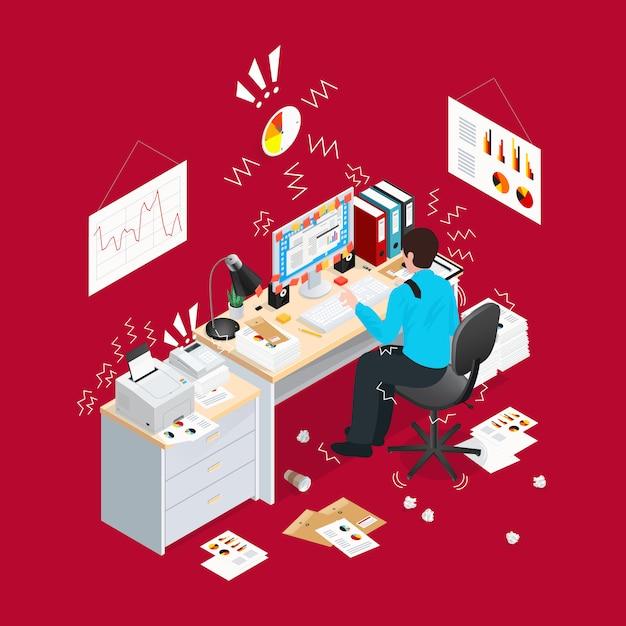 Deadline office isometrische samenstelling Gratis Vector