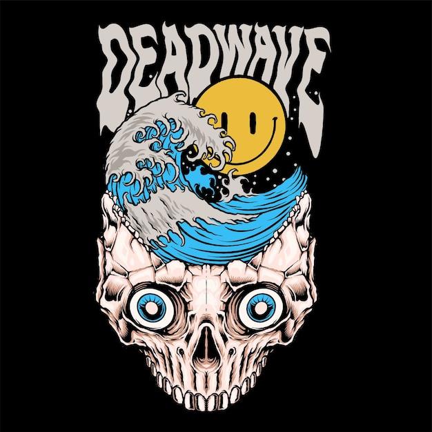 Deadwave smiley met golven Premium Vector