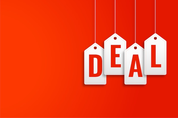 Deal promotiebanner in hangende prijskaartjesstijl Gratis Vector