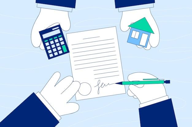 Deal van het kopen, huren of leasen van accommodatieconcept. Premium Vector