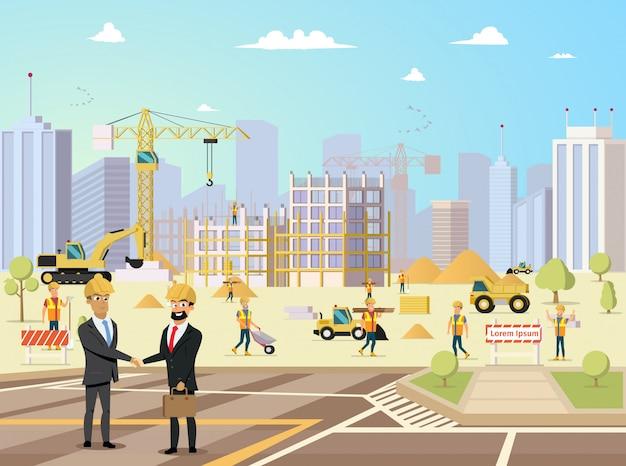 Dealvergadering van partner en aannemer bij bouwconstructies Premium Vector