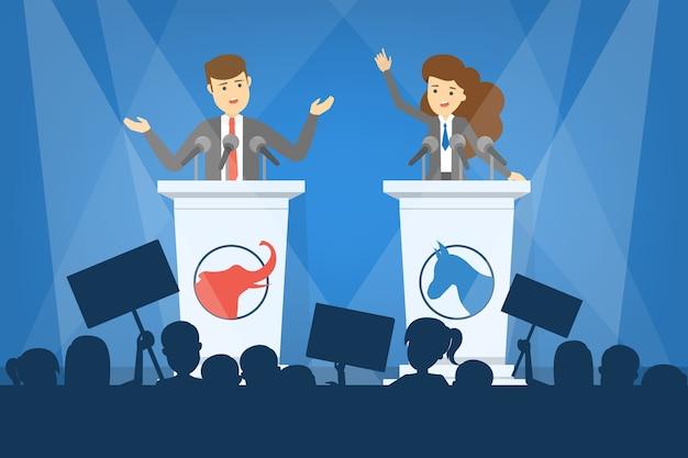 Debat concept. kandidaat voor president bij de tribune. politieke toespraak. presidentiële verkiezingen. illustratie in cartoon-stijl Premium Vector