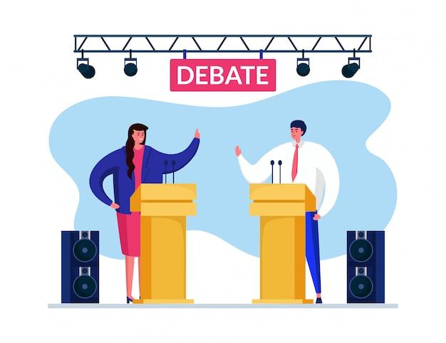 Debat toespraak stem illustratie. man vrouw die geschil hebben om kiezers hun kant aan te trekken. sprekers steken hun hand op. Premium Vector
