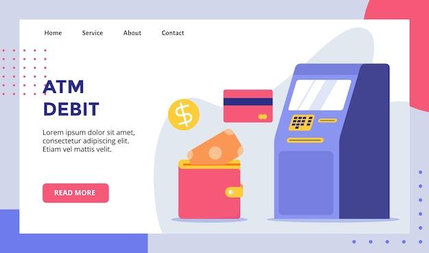 Debet atm-machine voor webwebsite startpagina bestemmingspagina sjabloon banner met moderne vlakke stijl Premium Vector