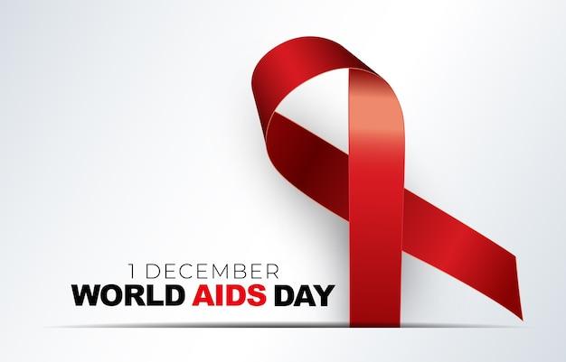 December wereld aidsdag concept met rood lint teken Premium Vector