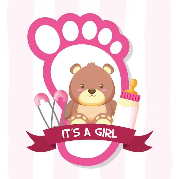 Decoratie voor baby shower kaart Gratis Vector