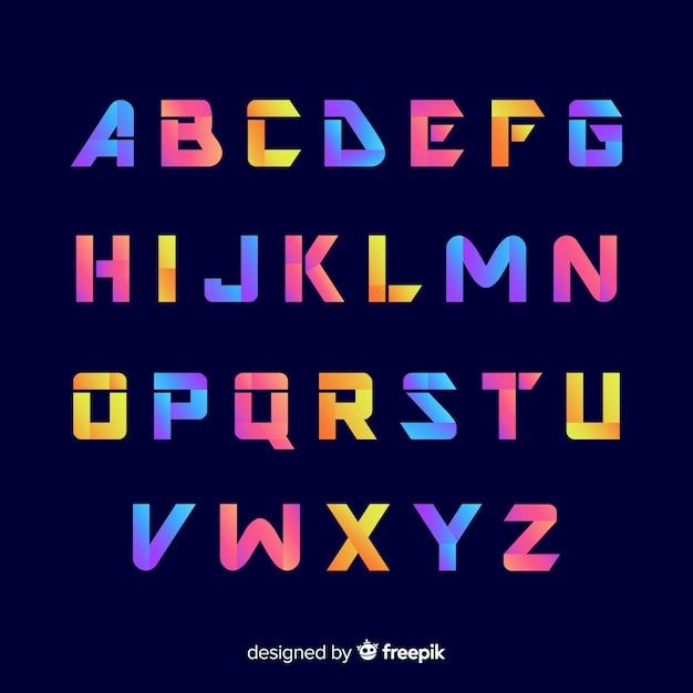 Decoratief alfabet sjabloon gradiënt stijl Gratis Vector