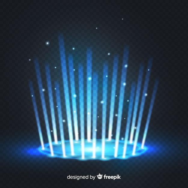 Decoratief blauw licht portaaleffect op transparante achtergrond Gratis Vector