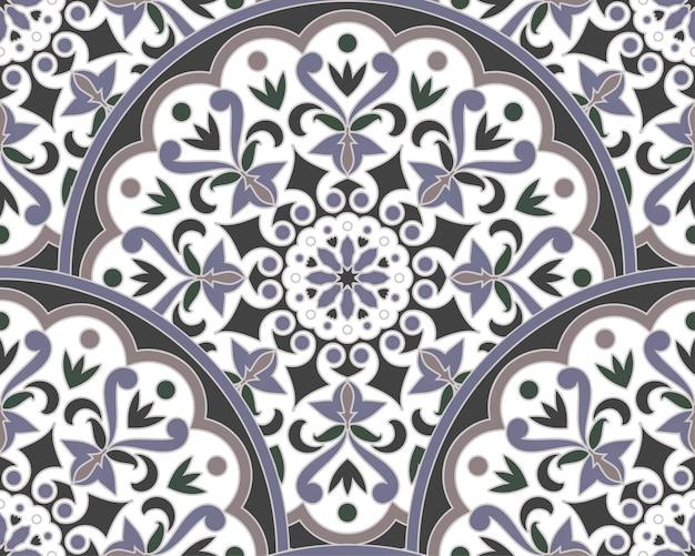 Decoratief bloemenmandalapatroon maleisië en indische stijl Premium Vector