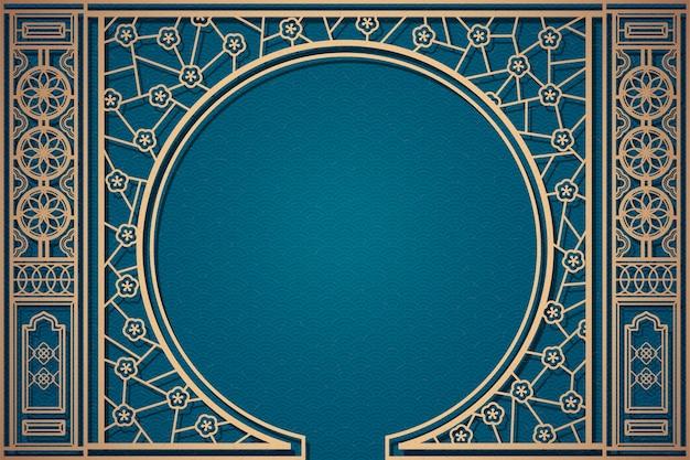 Decoratief chinees vensterpatroon op blauwe golvende achtergrond Premium Vector