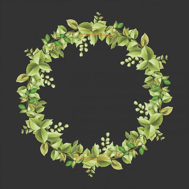 Decoratief cirkelkader met bloemen en bladerenornament Premium Vector