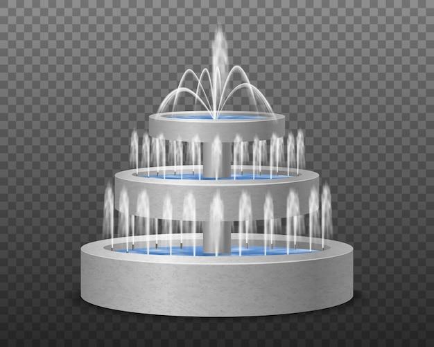 Decoratief de fontein realistisch beeld op drie niveaus van de tuin openlucht modern stijl decoratief water tegen donkere transparante illustratie Gratis Vector