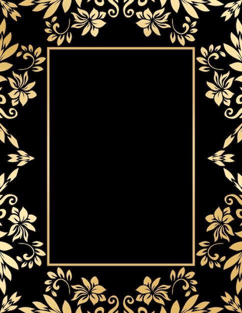 Decoratief gouden frame met abstracte luxegolven en krullen Gratis Vector