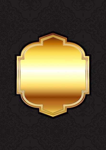 Decoratief gouden frame op een damastachtergrond Gratis Vector