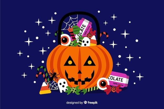 Decoratief halloween-plat ontwerp als achtergrond Gratis Vector