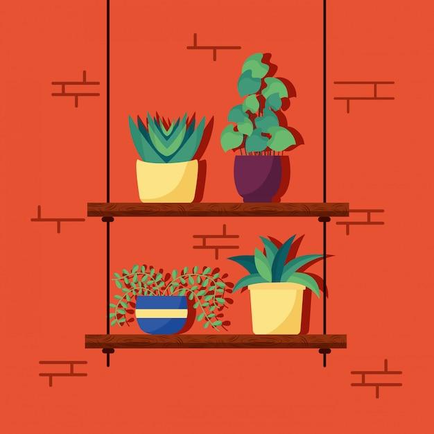 Decoratief huisplanten interieurontwerp Gratis Vector