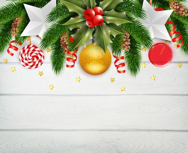 Decoratief kerstmisframe met maretak Gratis Vector