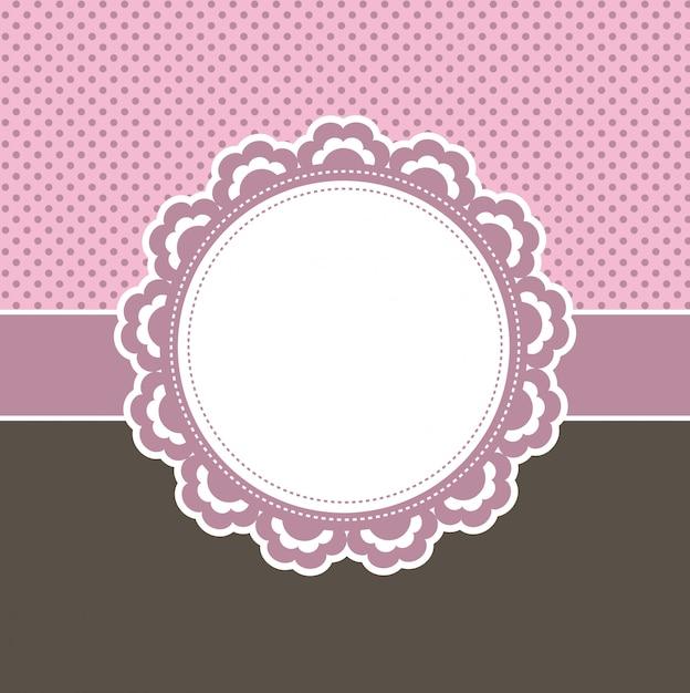 Decoratief roze bloemenetiket Gratis Vector