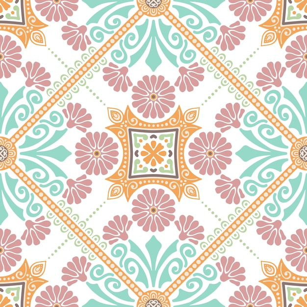 Decoratief tegelpatroonontwerp. vector illustratie. Gratis Vector