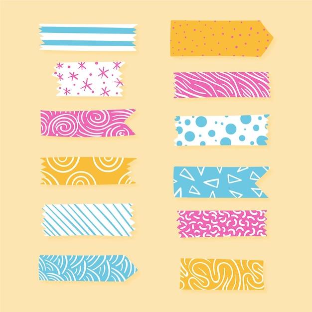 Decoratief washi-tape-pakket Premium Vector