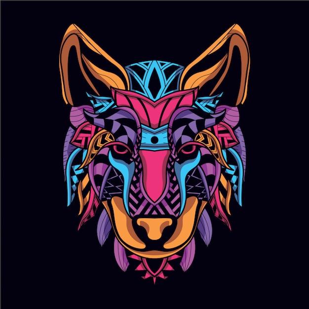 Decoratief wolfsgezicht van neonkleur Premium Vector