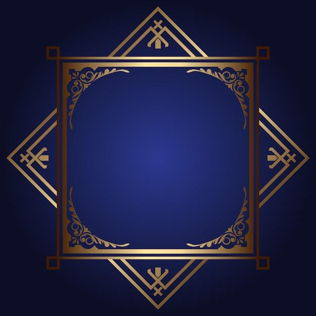 Decoratieve achtergrond met gouden frame Gratis Vector