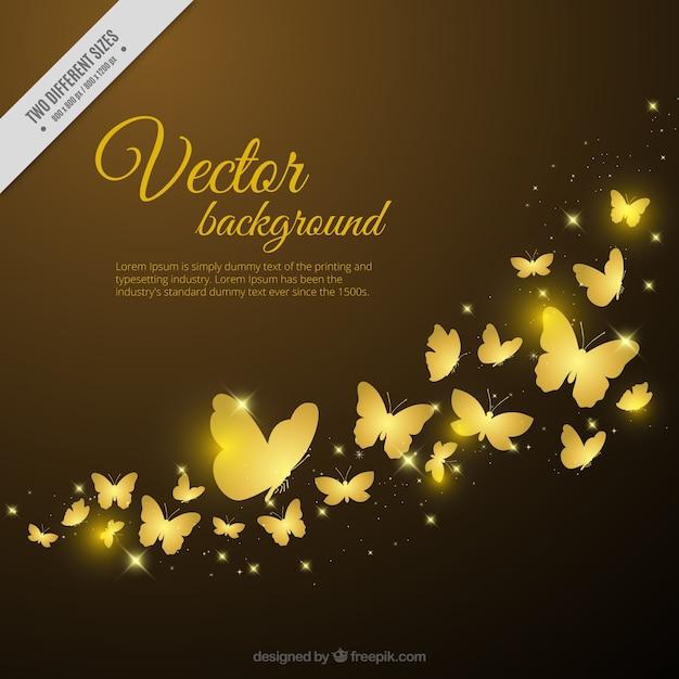 Decoratieve achtergrond van gouden vlinders Gratis Vector