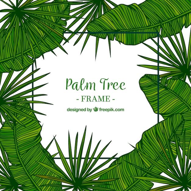 Decoratieve achtergrond van hand getekend palmblad Gratis Vector