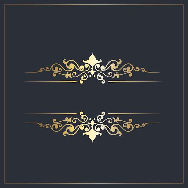 Decoratieve afscheiders met gouden sierdetails Gratis Vector