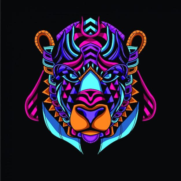 Decoratieve berenkop van glow neon kleur Premium Vector